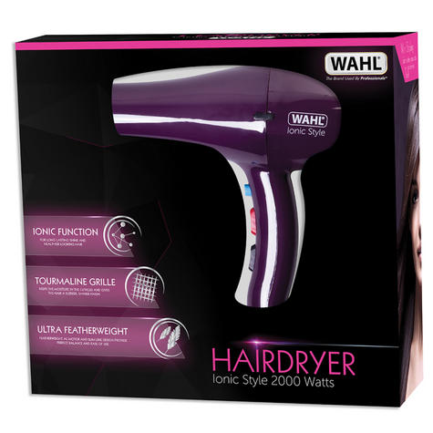 Wahl ZX908 Pro Ionic Style Hair Dryer|Lightweight|Tourmaline Grille|2000W|Purple Thumbnail 3