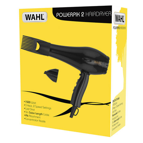 Wahl ZX961 PowerPik 2 Turbo Hair Dryer|Afro Styling Comb|Lightweight|1500W|Black Thumbnail 6