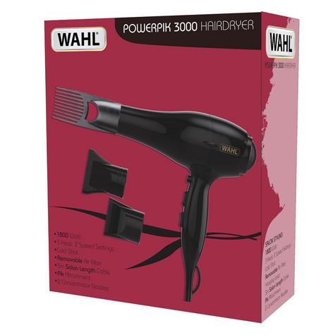 Wahl ZX962 PowerPik 3000 Turbo Hair Dryer|3 Heat,2 Speed Setting|1800W|Black|New Thumbnail 2