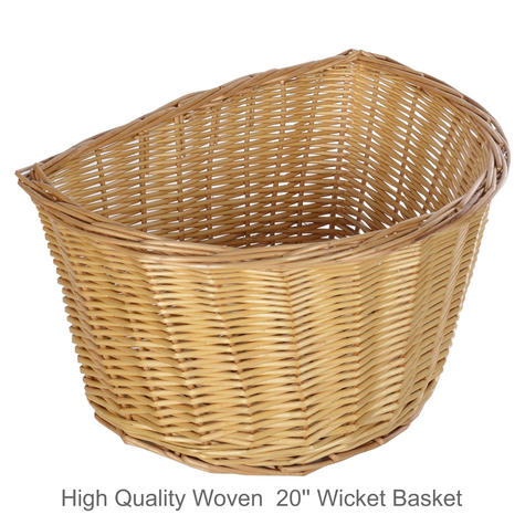 """Oxford Cycle/ Bicycle Wicker Basket D Shape - 20'' 