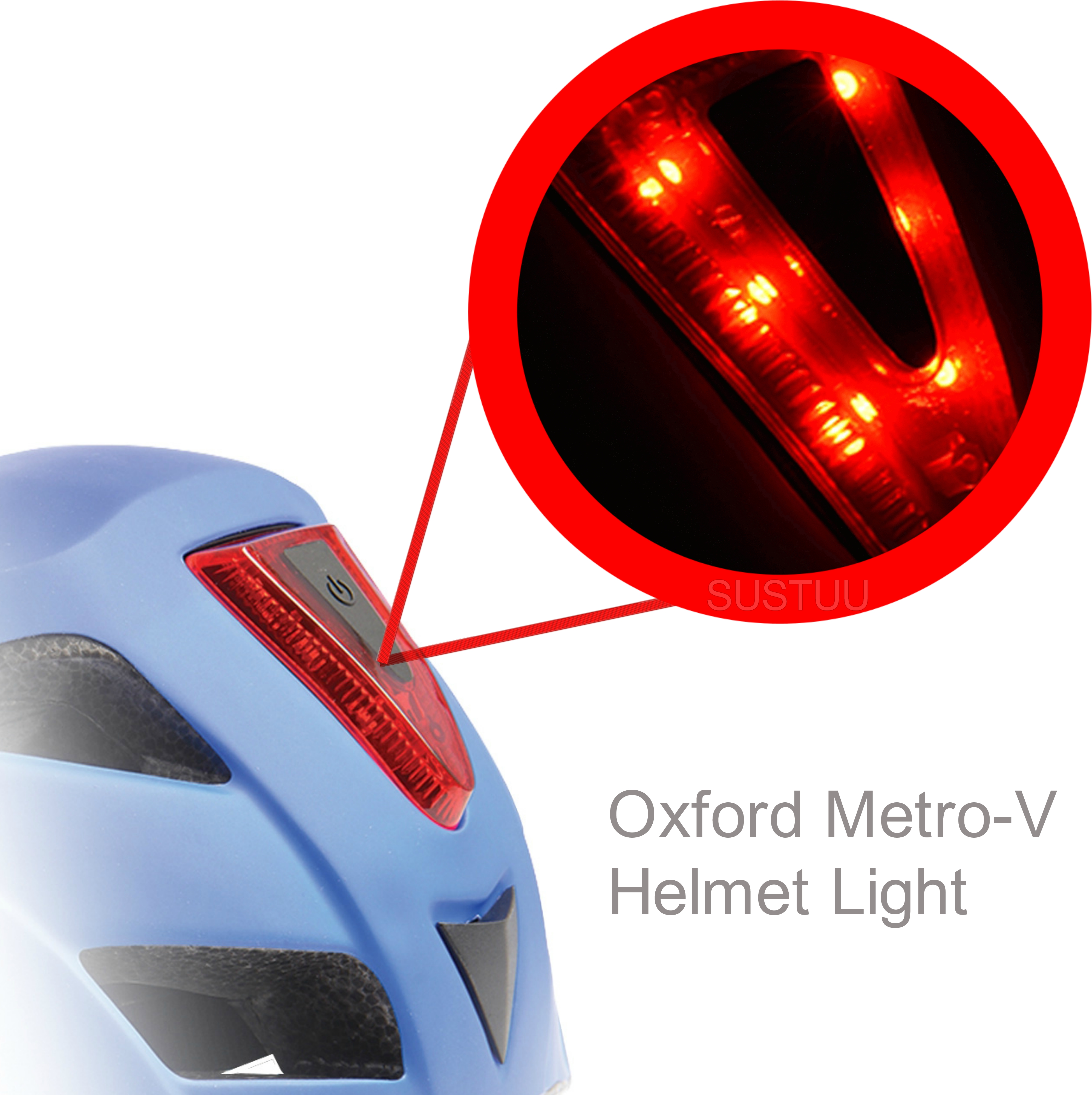 Oxford Metro-V Helmet Light Safty Flashing & Chasing Mode 6 LED Rear Features