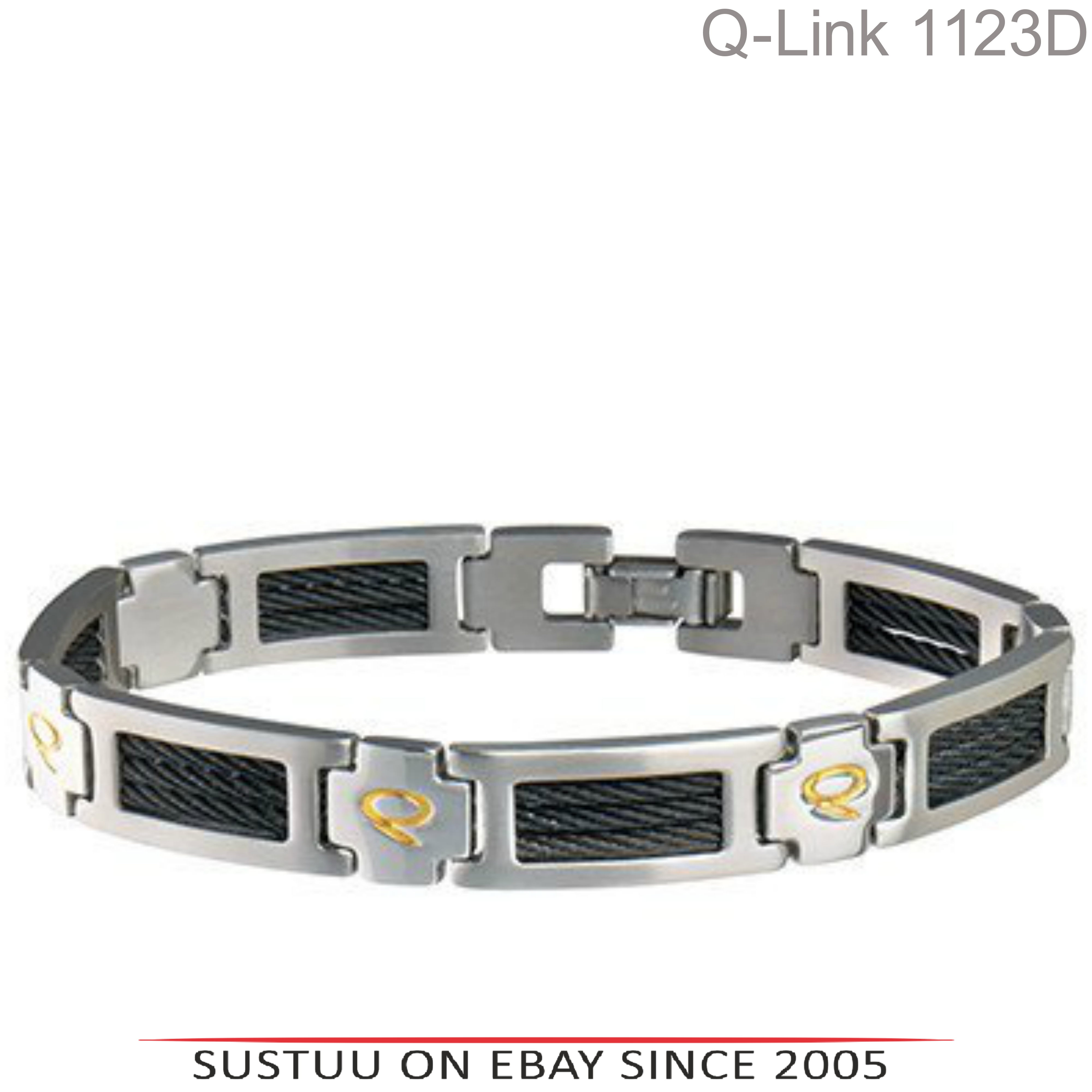 Q-Link Stainless Steel Brushed SRT-3 Executive Mens Bracelet|Well Being|-XLarge