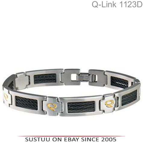 Q-Link Stainless Steel Brushed SRT-3 Executive Mens Bracelet|Well Being|-XLarge Thumbnail 1