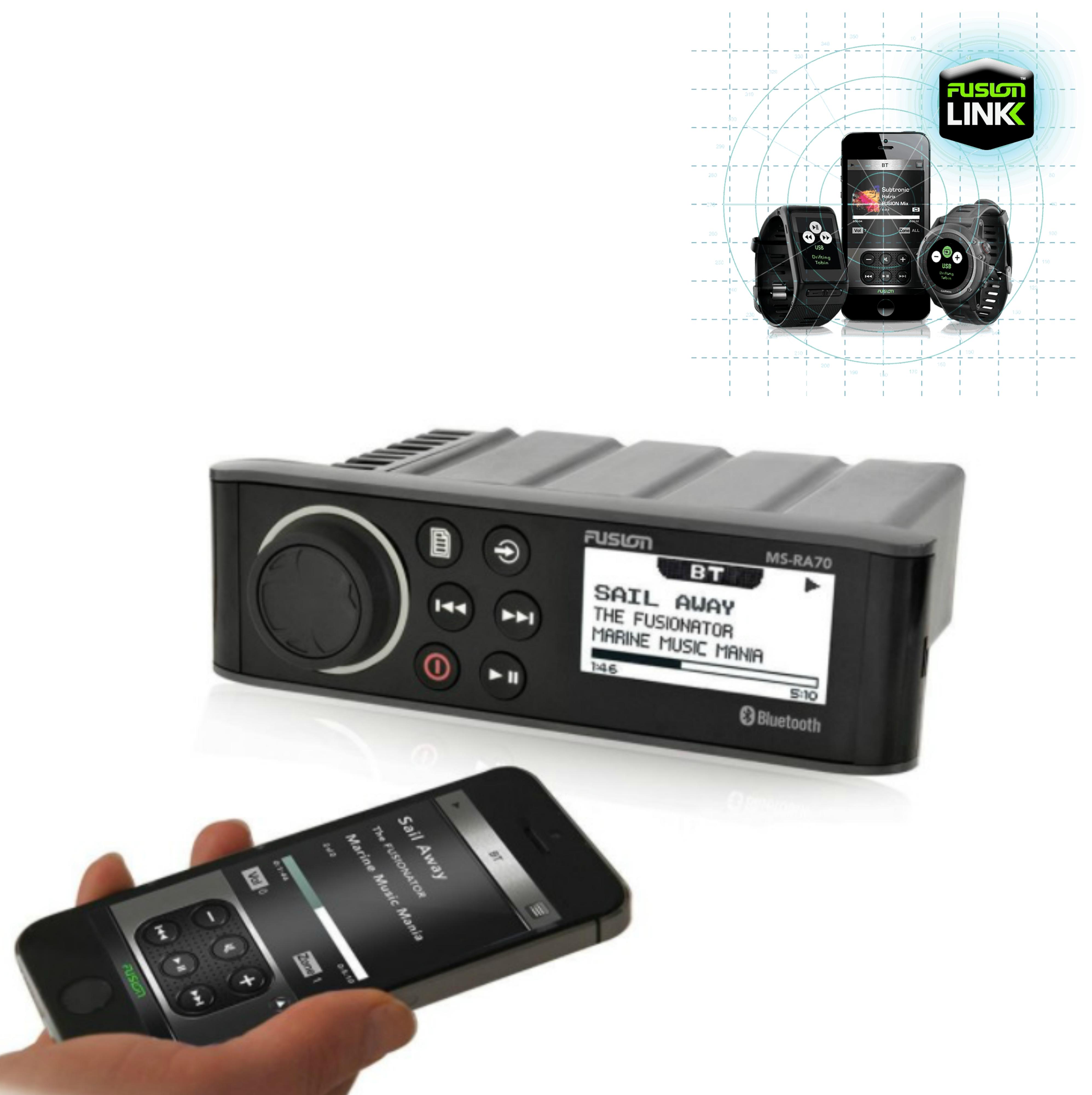 Fusion RA70 Marine Radio Source Unit|FM/AM/DAB|USB/Bluetooth|iPod/iPhone/Android