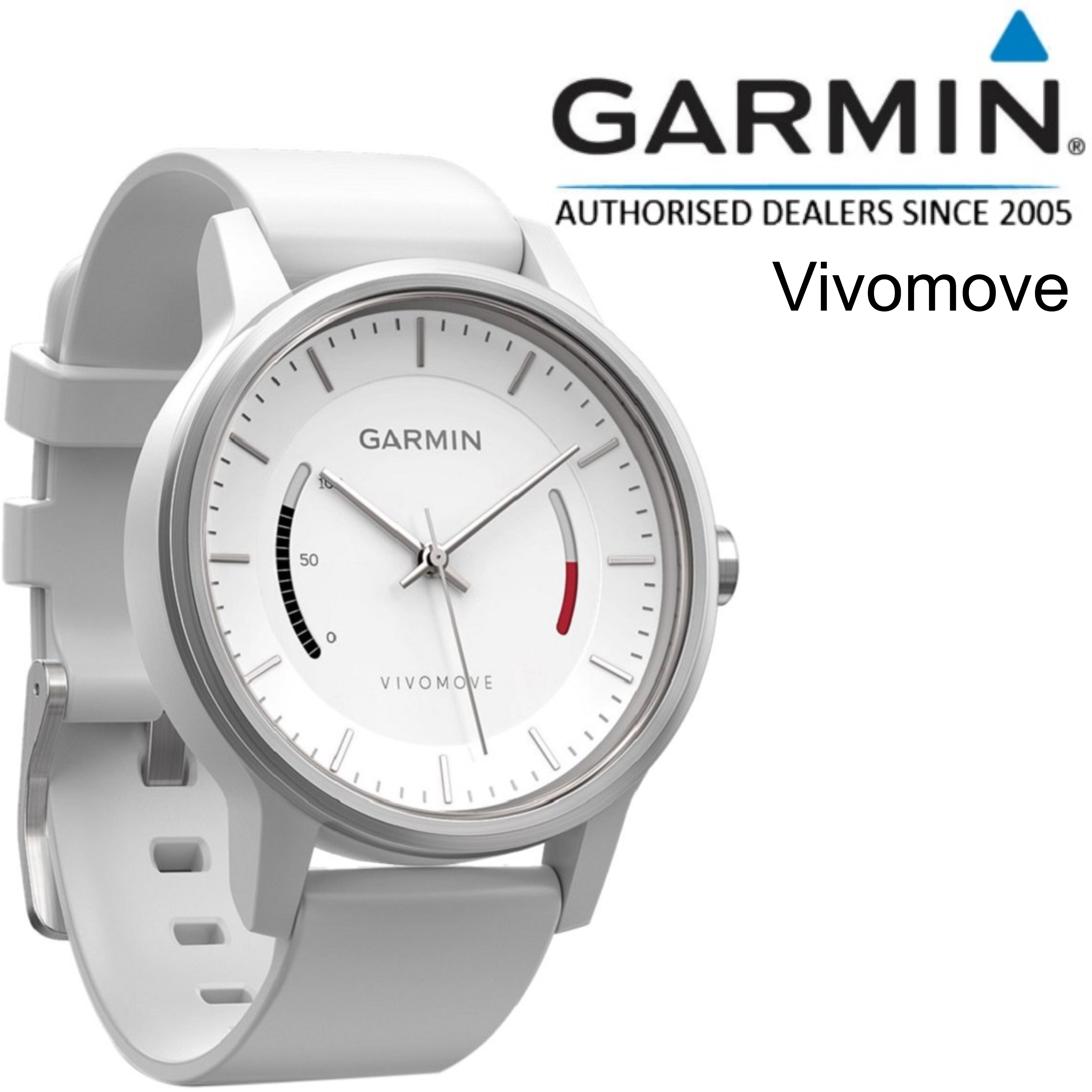 Garmin Vivomove Analog Sports Watch | Activity Fitness Tracker | Sleep Monitor | White