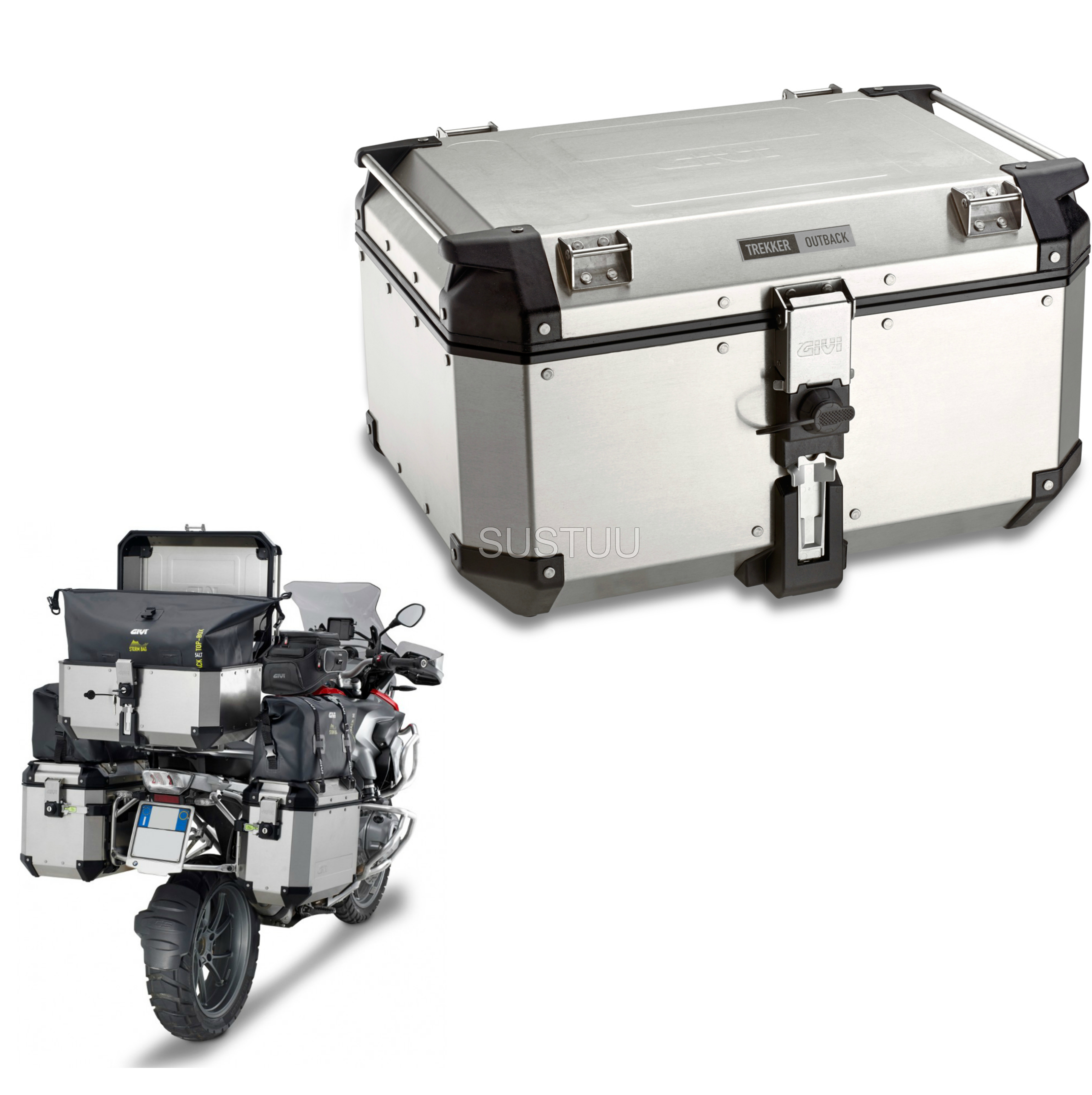 Givi OBK58B|Universal Outback Top Case|Aluminum[Metalic color]TREKKER|Motorcycle Box|58L