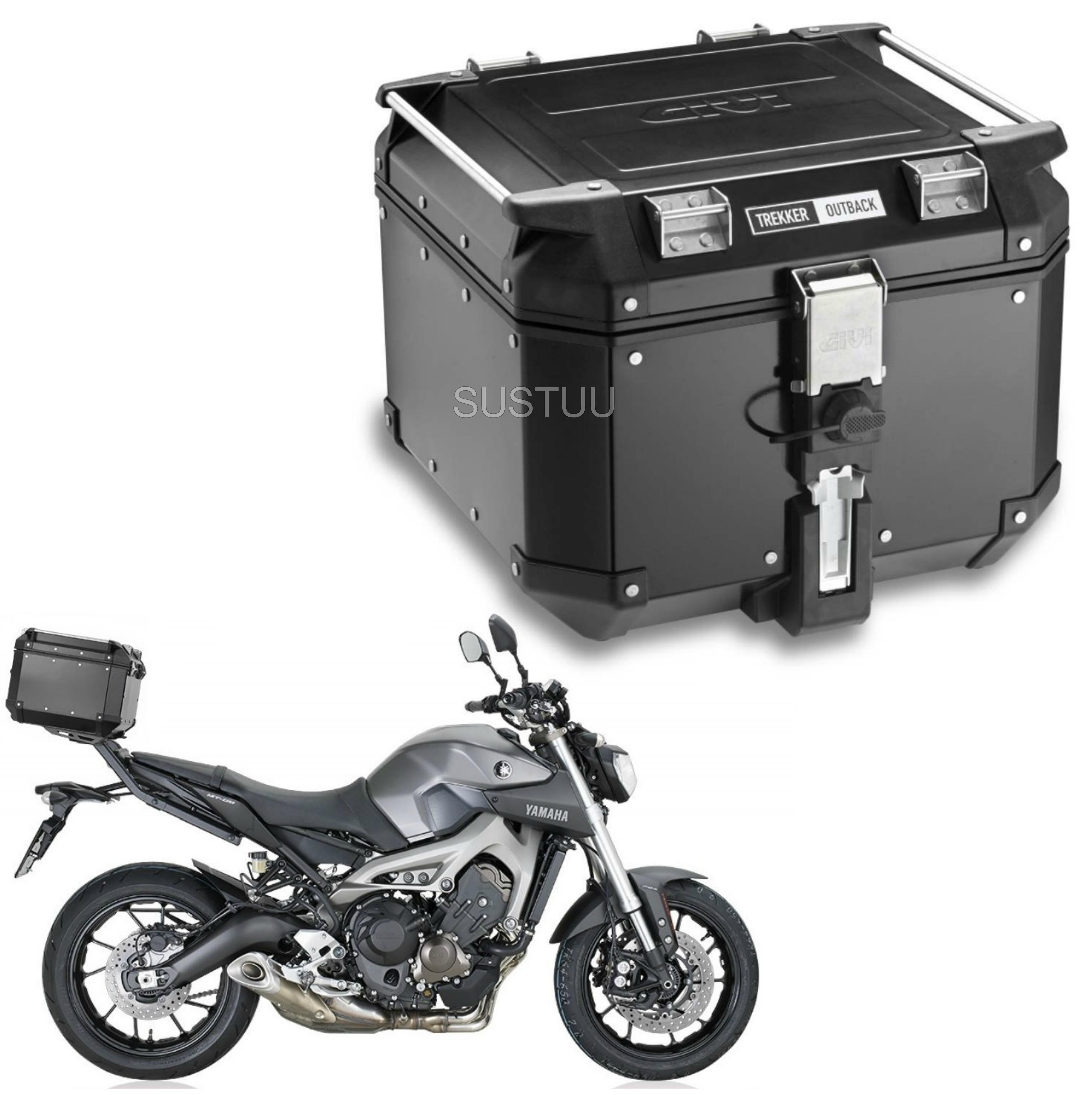 Givi OBK42|Trekker Outback Motorcycle Top Box-Case|42 Liter|Black Line Aluminium