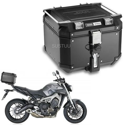 Givi OBK42|Trekker Outback Motorcycle Top Box-Case|42 Liter|Black Line Aluminium Thumbnail 1
