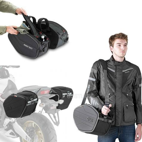 Givi EA101B|Motorcycle Expandable Pannier/Saddle/Side/Luggage Easy-T Soft Bags|30Ltr Thumbnail 1