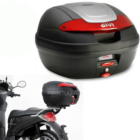 Givi E340N|Monolock Motorcycle Scooter Top Box-Luggage Case|With Universal Plate?34Ltr Thumbnail 1