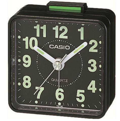 Casio TQ-140-1EF Beep Alarm Clock|NeoDisplay|White Number|Resin Case|Alarm|Black Thumbnail 1