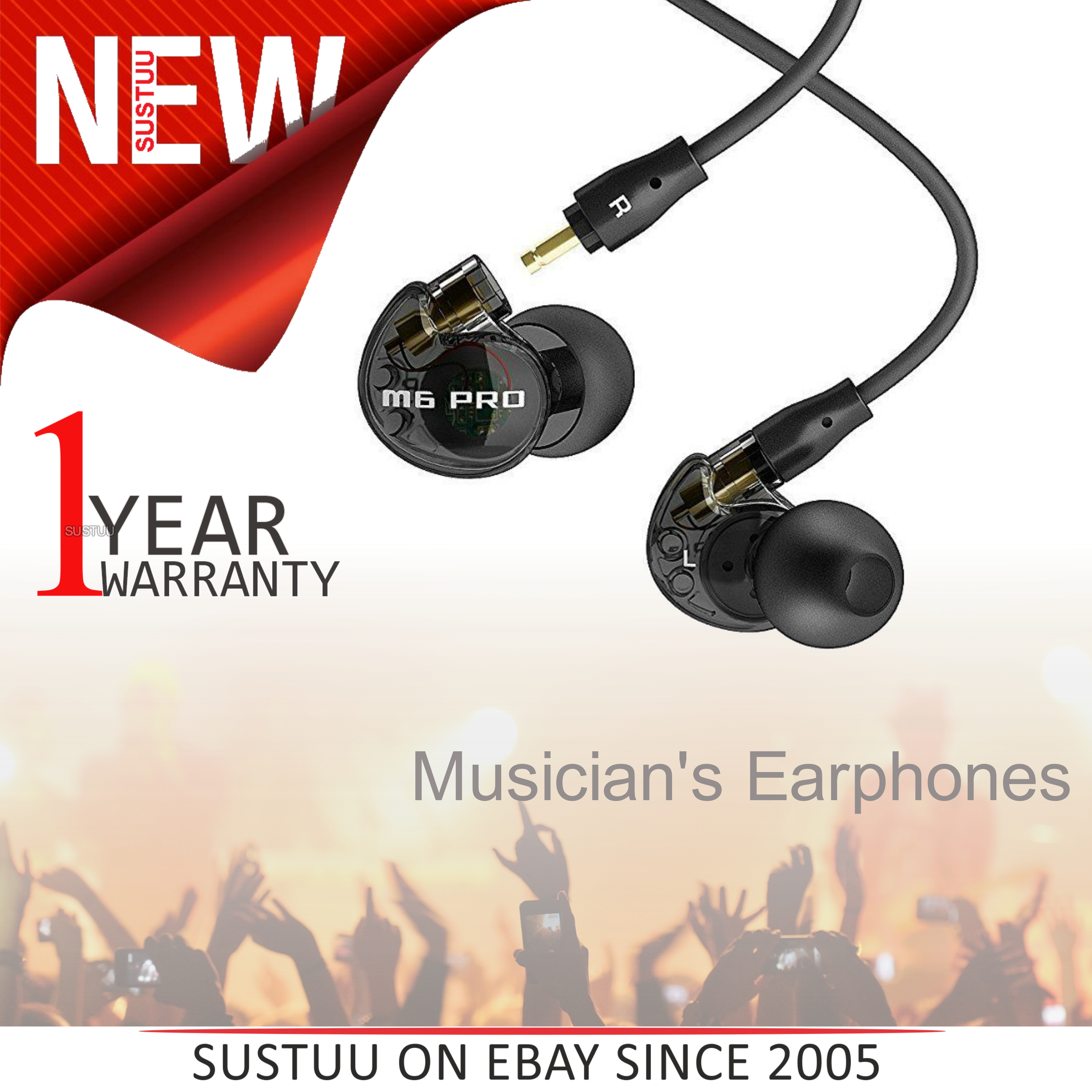 MEE Audio M6 PRO Earphone / Replaceable Cable / Universal Control Microphone / Black /