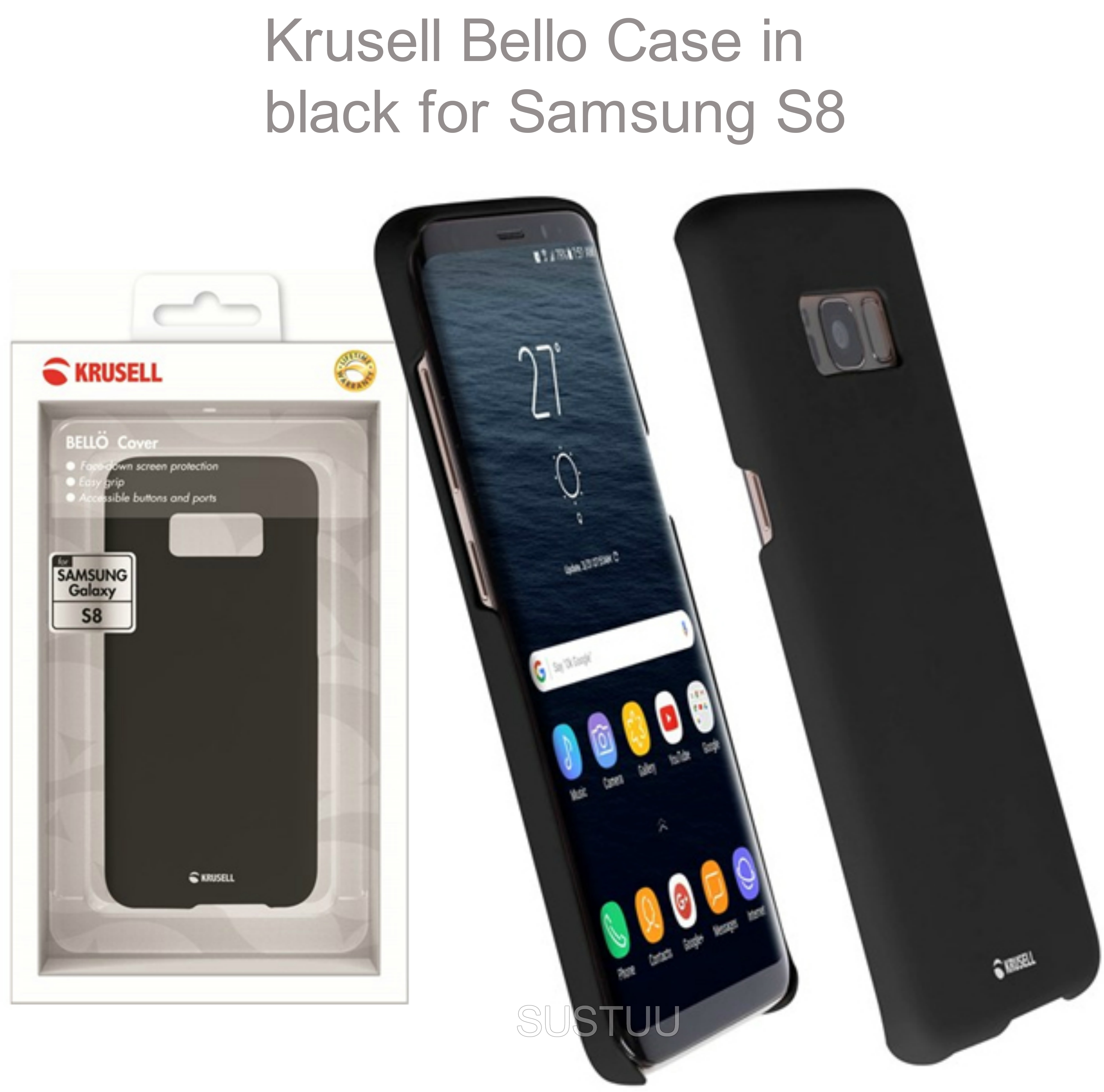 Krusell Bellö Back Case | Protective Mobile Phone Cover | For Samsung Galaxy S8 | Black