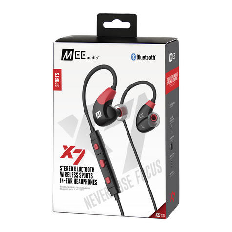 MEE Audio X7 In-Ear Headphones / Bluetooth / Wireless / Microphone / Battery - Red/Black Thumbnail 3
