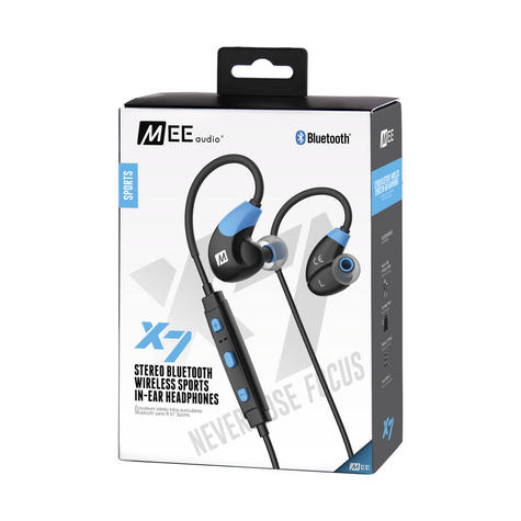 MEE Audio X7 In-Ear Headphones / Bluetooth / Wireless / Microphone / Battery  Blue/Black Thumbnail 3