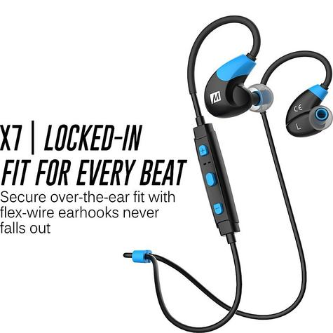 MEE Audio X7 In-Ear Headphones / Bluetooth / Wireless / Microphone / Battery  Blue/Black Thumbnail 4