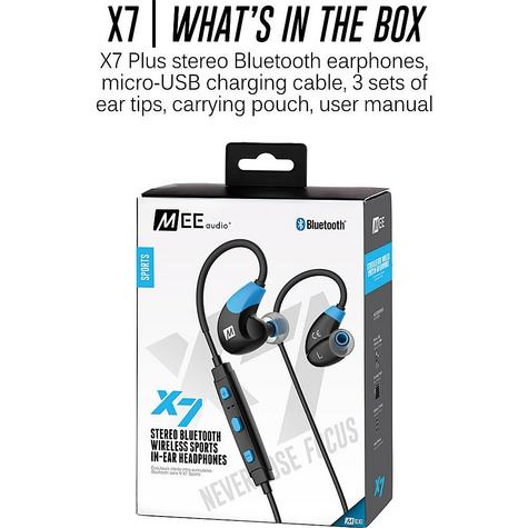 MEE Audio X7 In-Ear Headphones / Bluetooth / Wireless / Microphone / Battery  Blue/Black Thumbnail 5