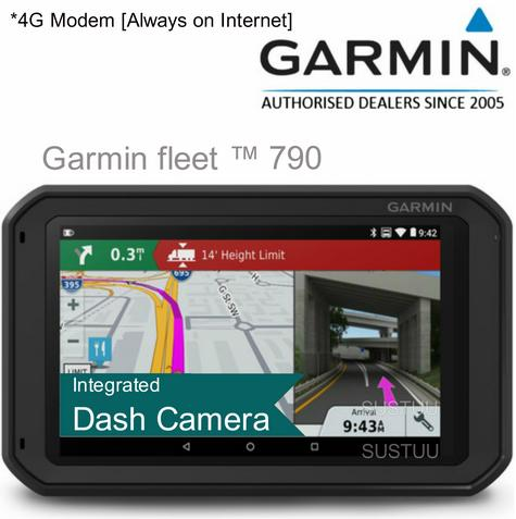 "Garmin Fleet 790 EU?7"" Truck GPS-SatNav + Dashcam[Embedded 4G modem]?Preloaded+Lifetime Europe Maps Thumbnail 1"