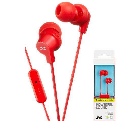JVC HAFR15R Colourful Headphones|In Ear|9mm|L-Plug|In-Ear|Remote|Mic|iPhone|Red| Thumbnail 1