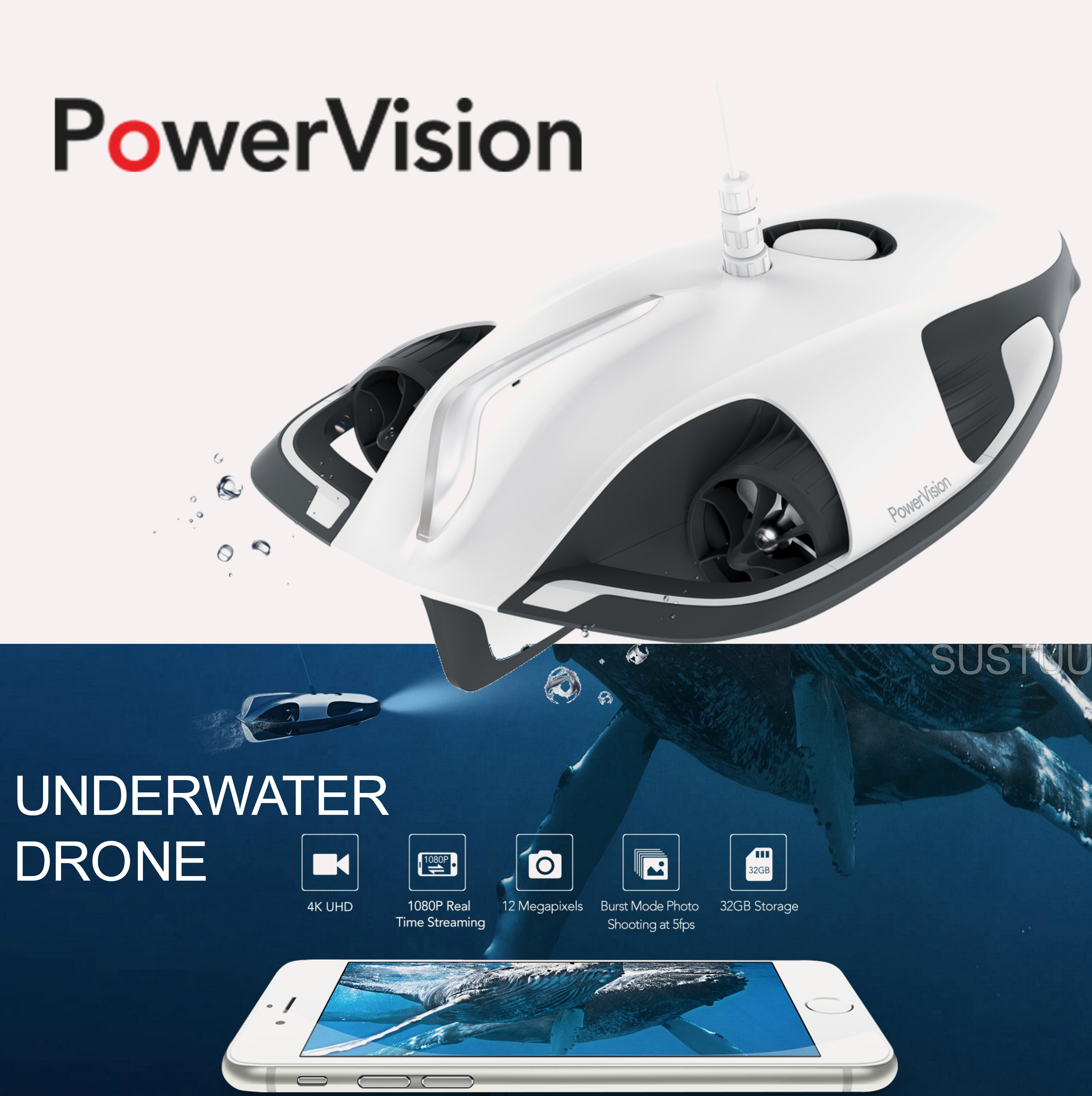 Powervision PowerRay Wizard|Underwater Robot|4K UHD Camera|5 Frame/Shoot-White