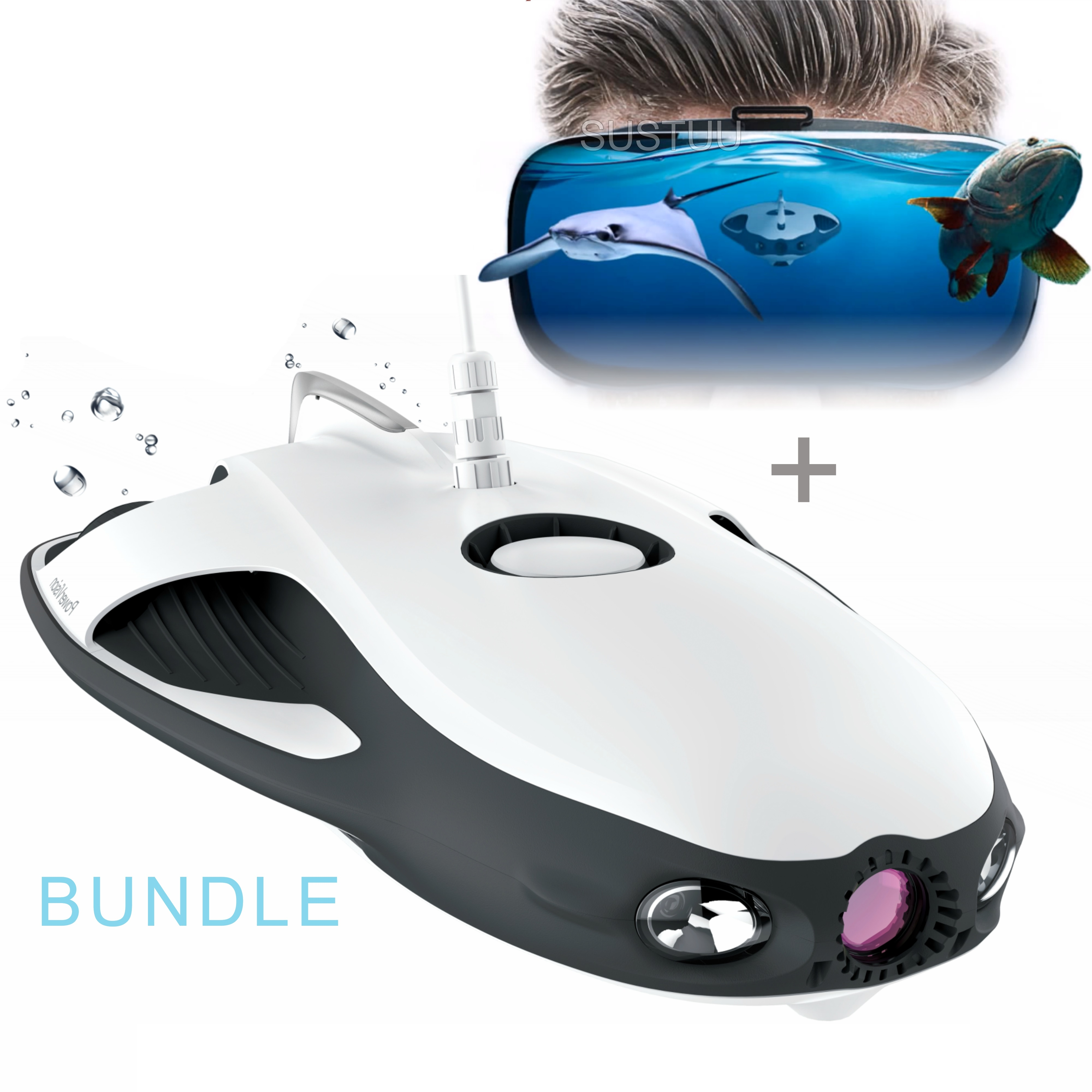 Powervision PowerRay Wizard Underwater Robot Drone + VR Goggle Kit|12MP 1080p|4K UHD Camera