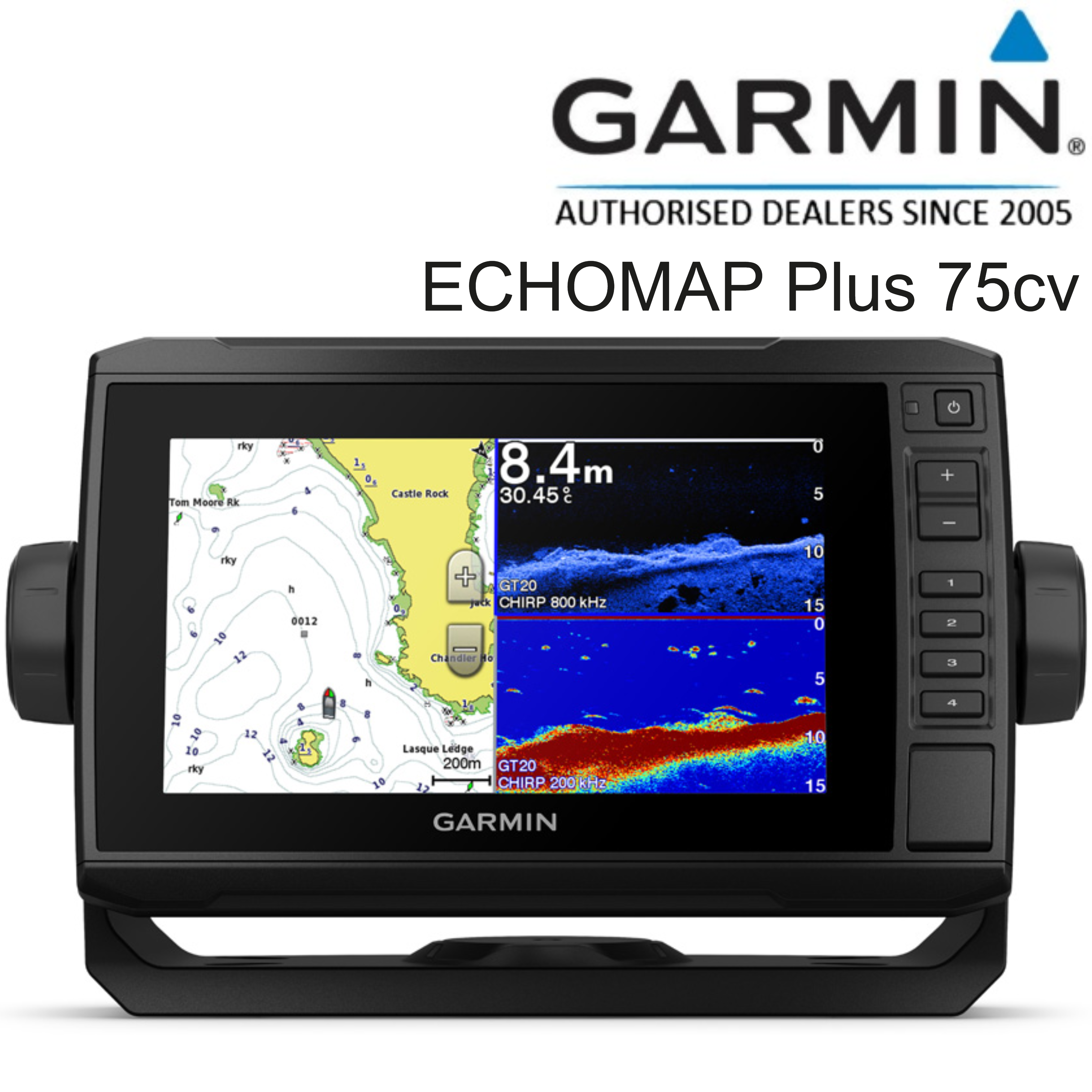 "Garmin ECHOMAP Plus 75cv-7"" CHIRP Sonar Preloaded UK/Ire G2 Chart Exc.Transducer"
