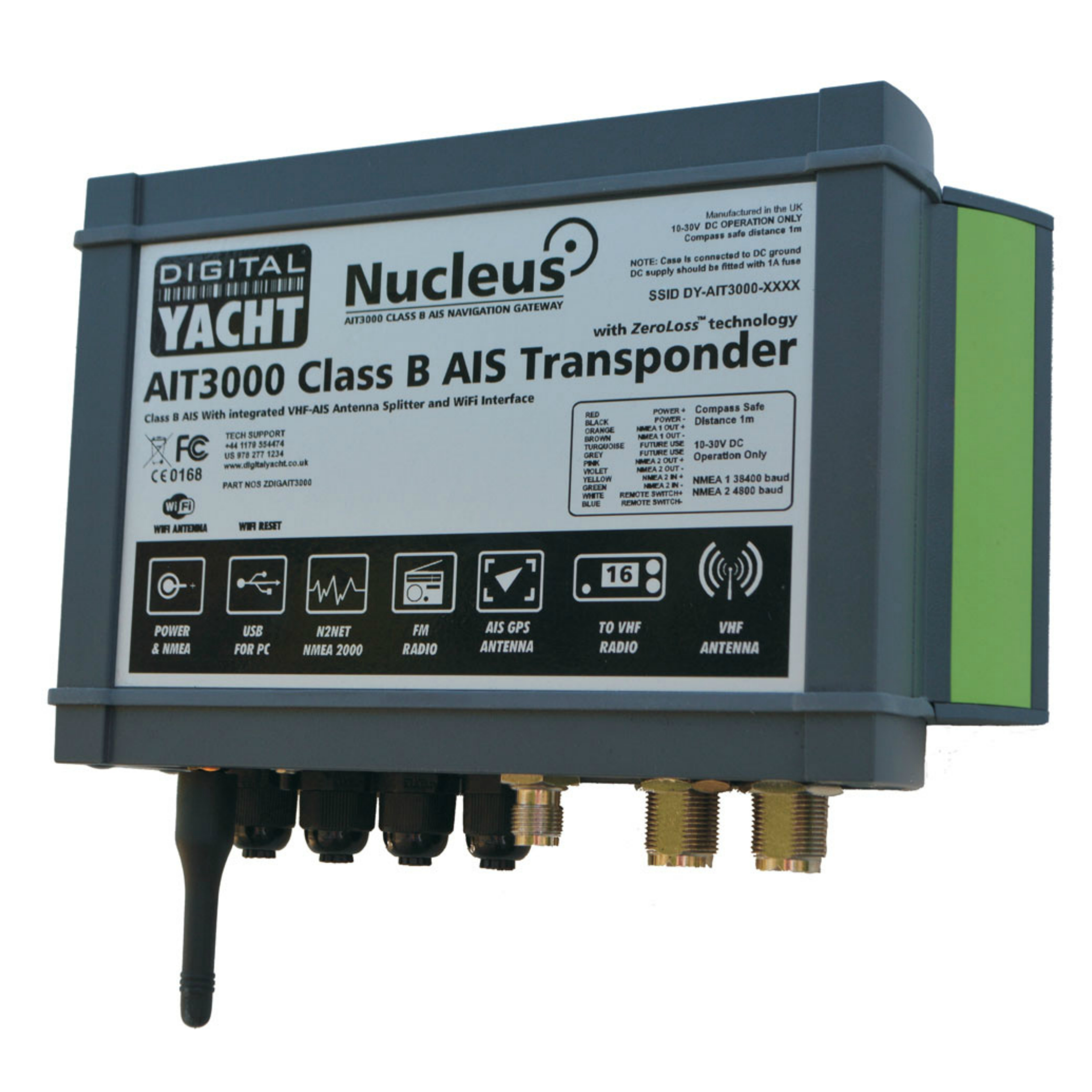 Digital Yacht-AIT3000|Class B AIS Transponder w/Splitter & WIFI|Support iOS/Android/PC & MAC