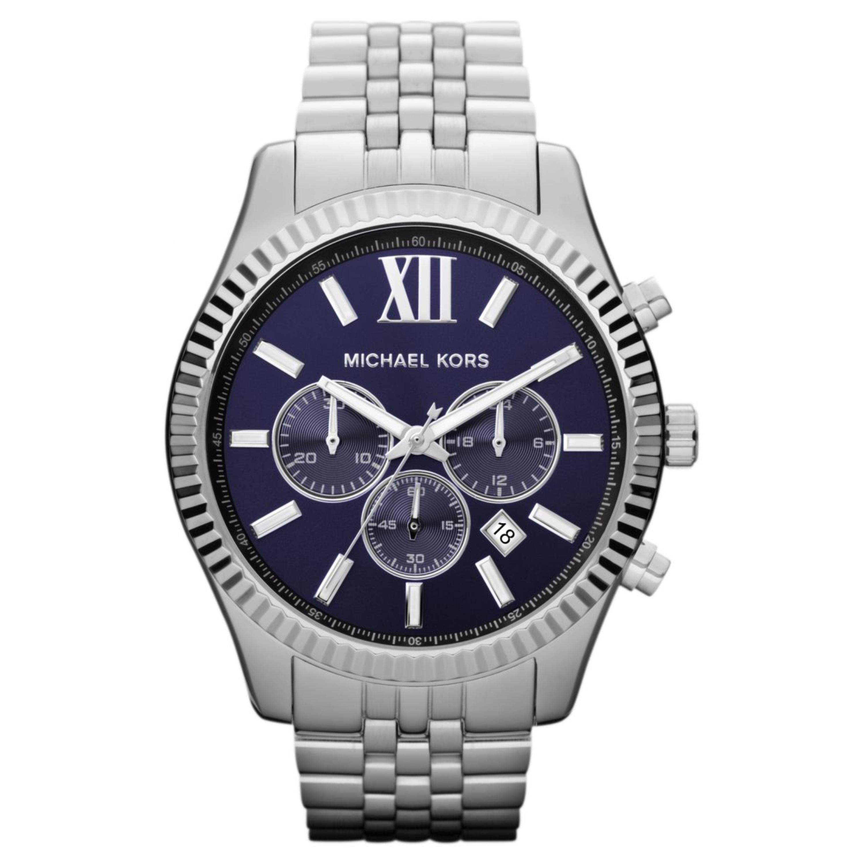 Michael Kors Lexington Men's Watch Chronograph Blue Dial Bracelet Strap MK8280