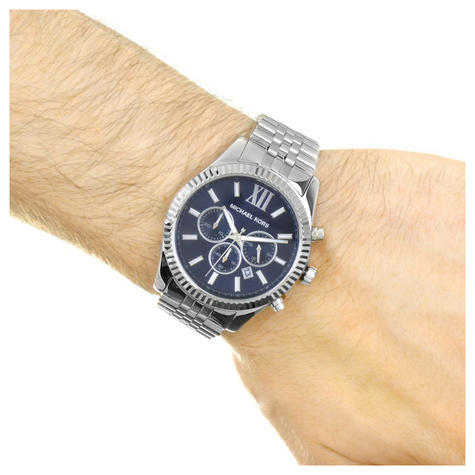 Michael Kors Lexington Men's Watch Chronograph Blue Dial Bracelet Strap MK8280 Thumbnail 4