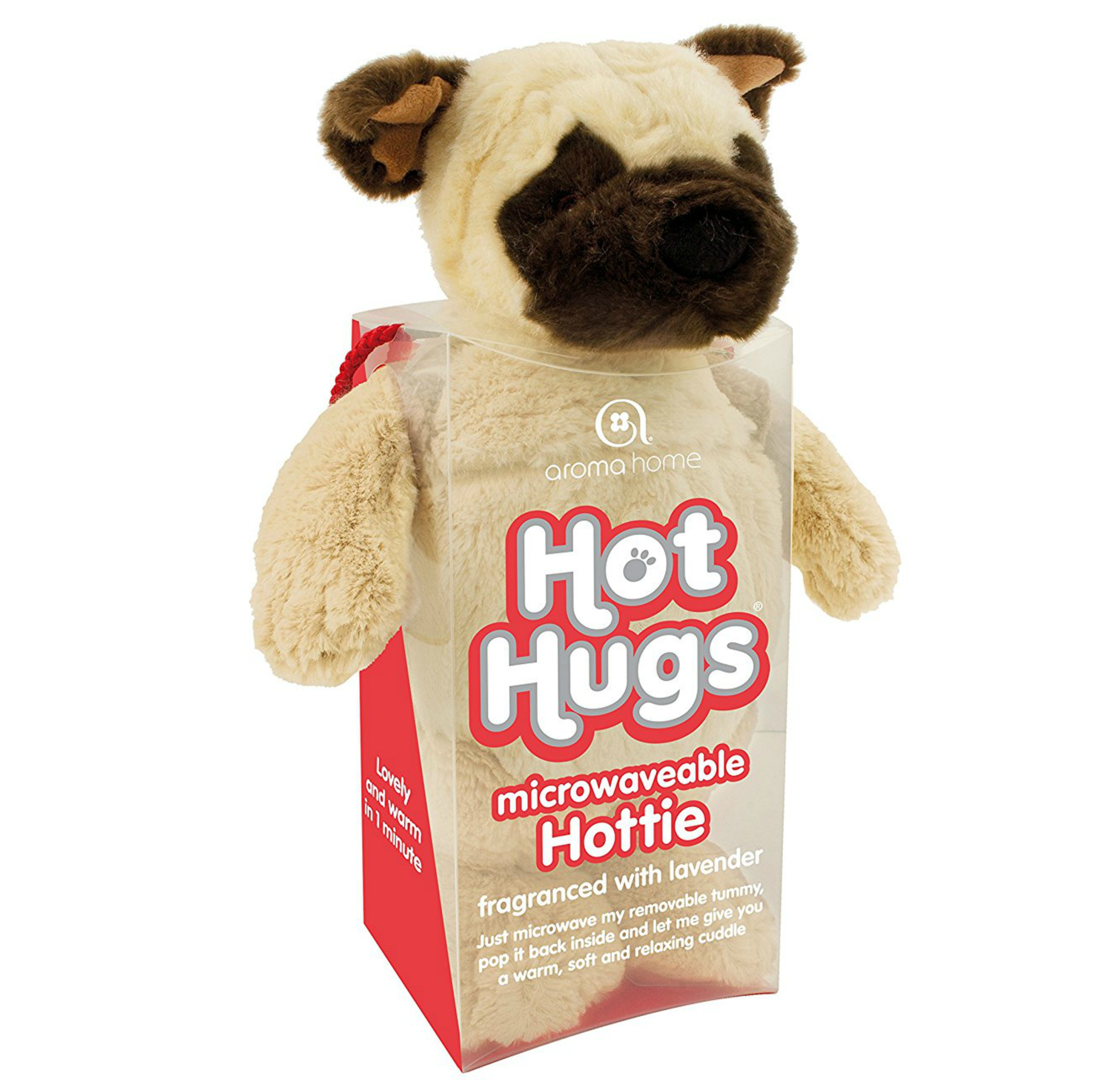 Aroma Home Hot Hug Microwaveable Soft Toy Pug With New Lavender Tummy Insert