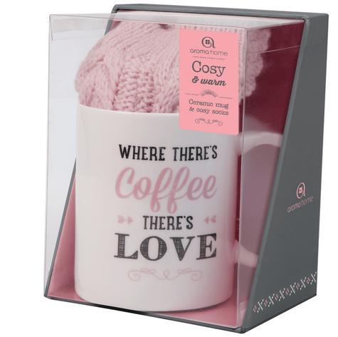 Aroma Home Printed Ceramic Mug & Cosy Washable Socks-Pink Thumbnail 2