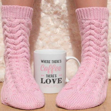 Aroma Home Printed Ceramic Mug & Cosy Washable Socks-Pink Thumbnail 3