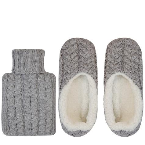 Aroma Home Mini Knitted Hot Water Bottle(500mn)|Cosy Slippers|Grey|Gift Set|New| Thumbnail 1