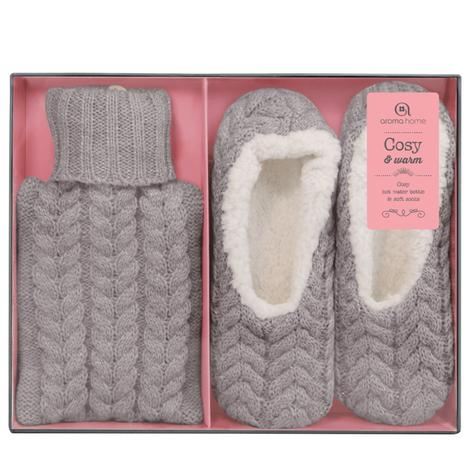 Aroma Home Mini Knitted Hot Water Bottle(500mn)|Cosy Slippers|Grey|Gift Set|New| Thumbnail 4