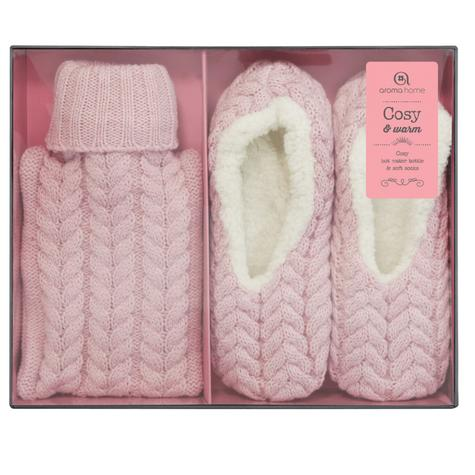 Aroma Home Mini Knitted Hot Water Bottle & Cosy Slippers Gift Set - Pink Thumbnail 4