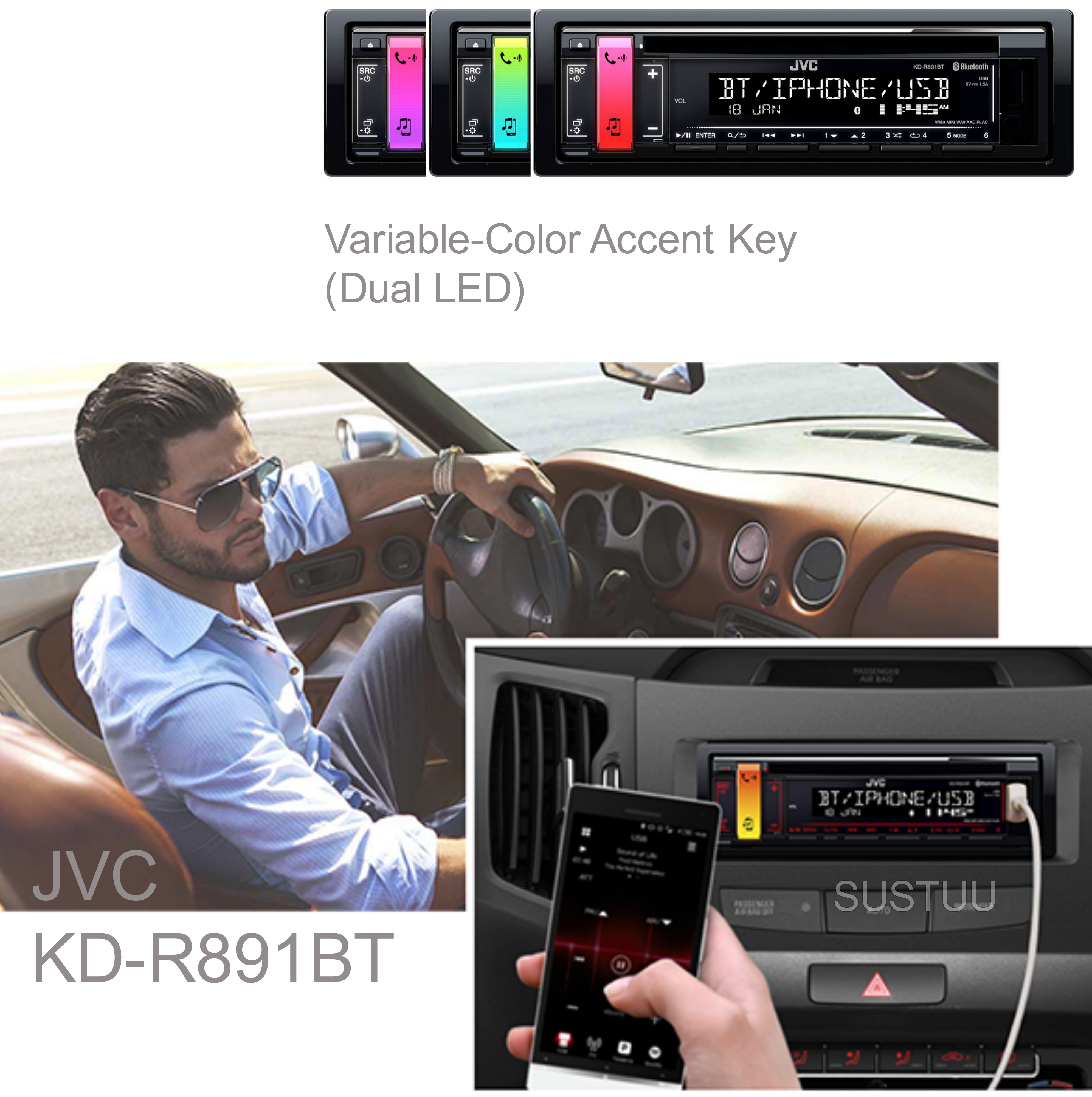 JVC Car Stereo|Radio|CD|MP3|USB|AUX|Bluetooth|iPod-iPhone-Android-Blackberry|New