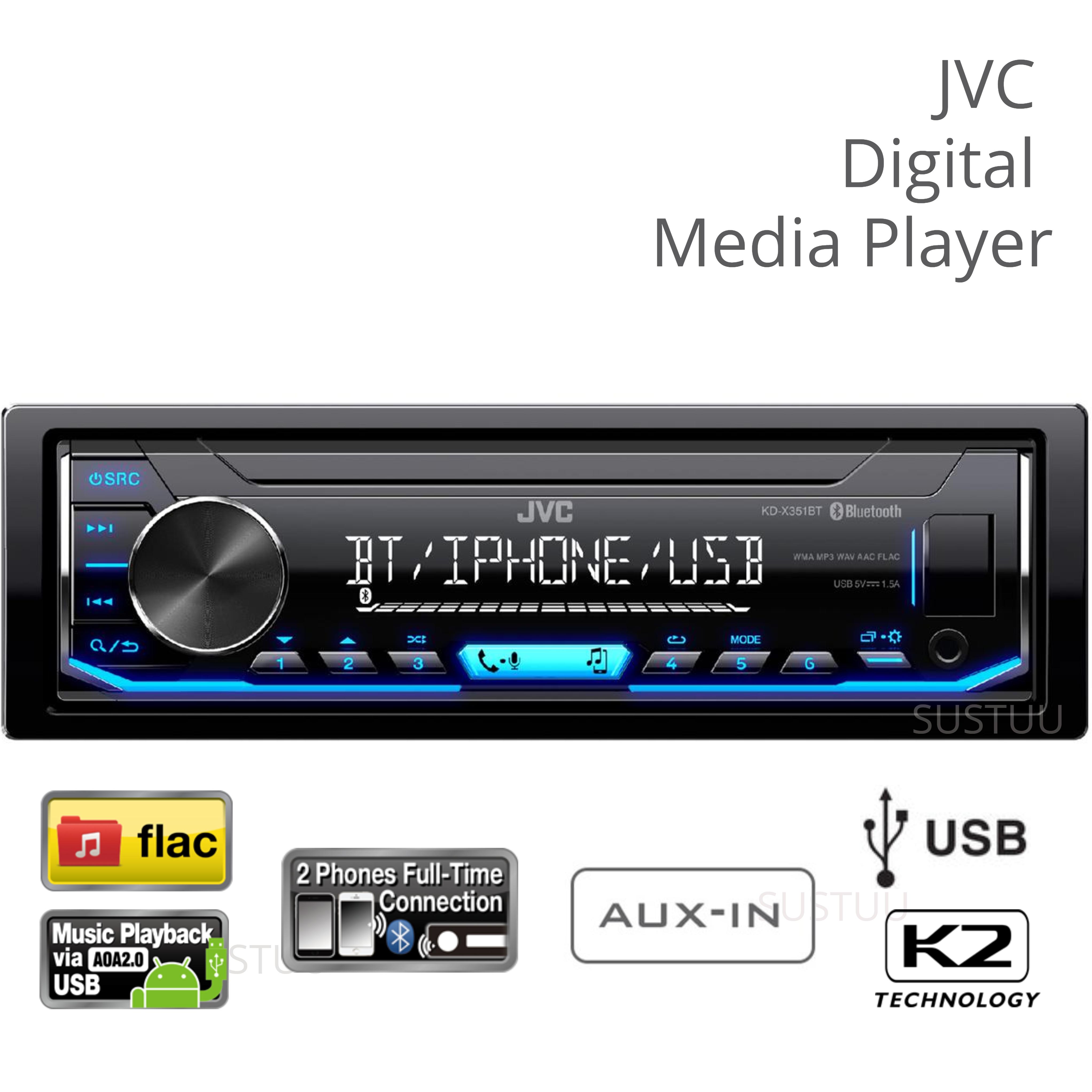 JVC KD X351BT Car Digital Media Receiver|Radio/Direct ipod/iphone/Aux/USB/FLAC