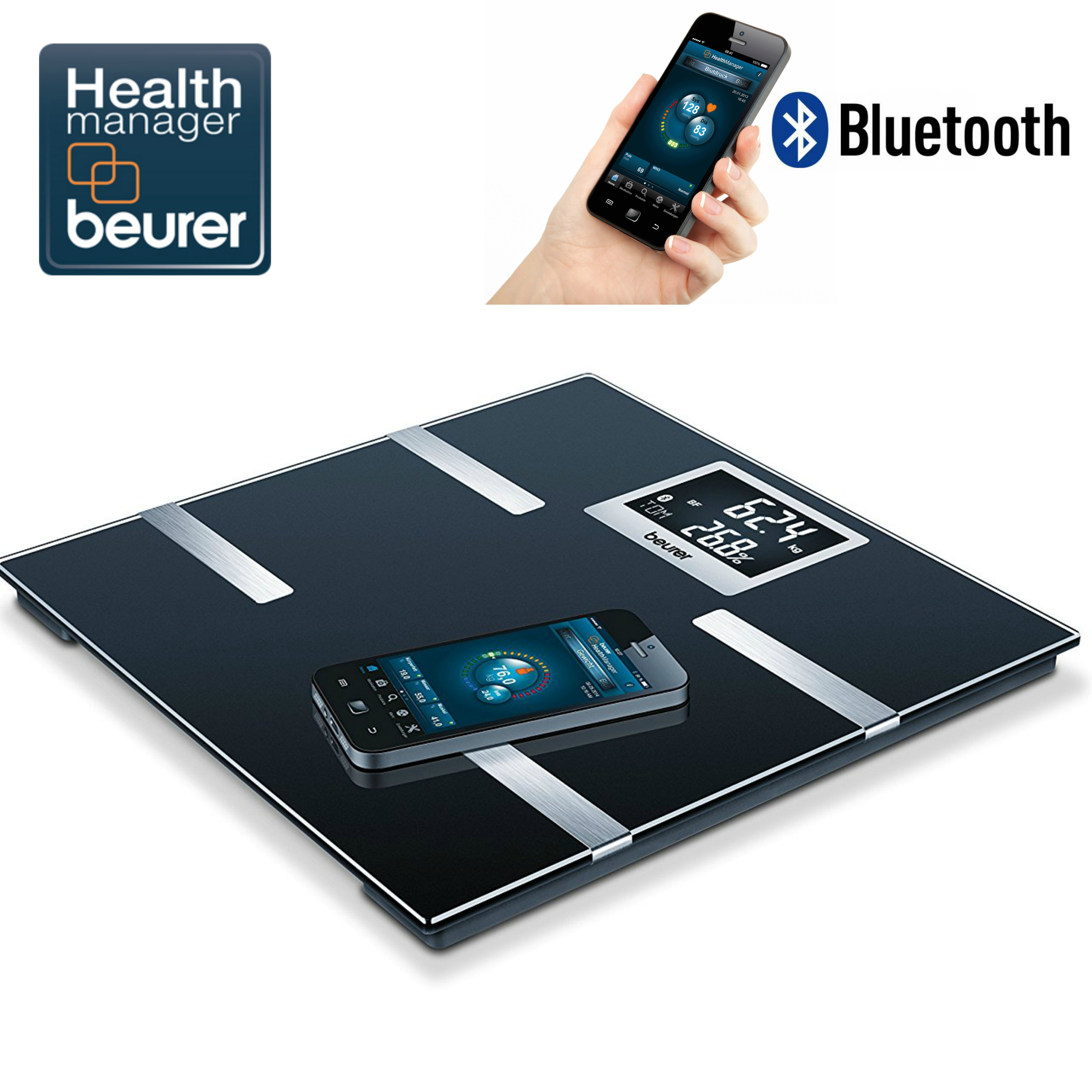 Beurer BF700 Diagnostic Scale|Smart Bluetooth|Health Manager|Digital Black LCD|