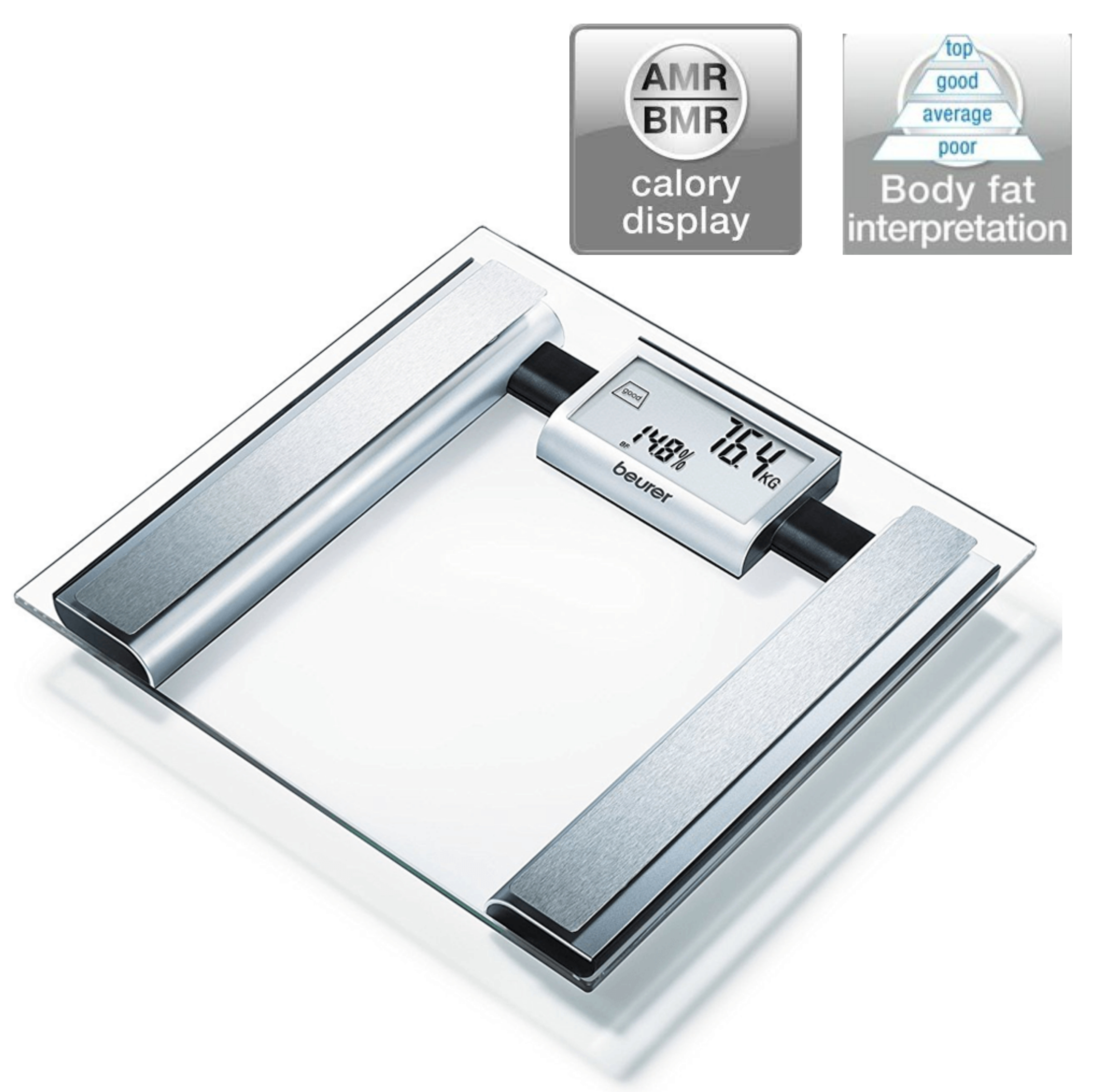 Beurer BG39 Glass Diagnostic Bathroom Scale|Large Digital Display|BMR+AMR|BF|New
