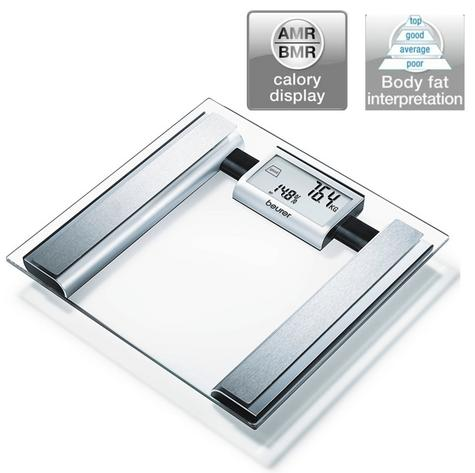 Beurer BG39 Glass Diagnostic Bathroom Scale|Large Digital Display|BMR+AMR|BF|New Thumbnail 1