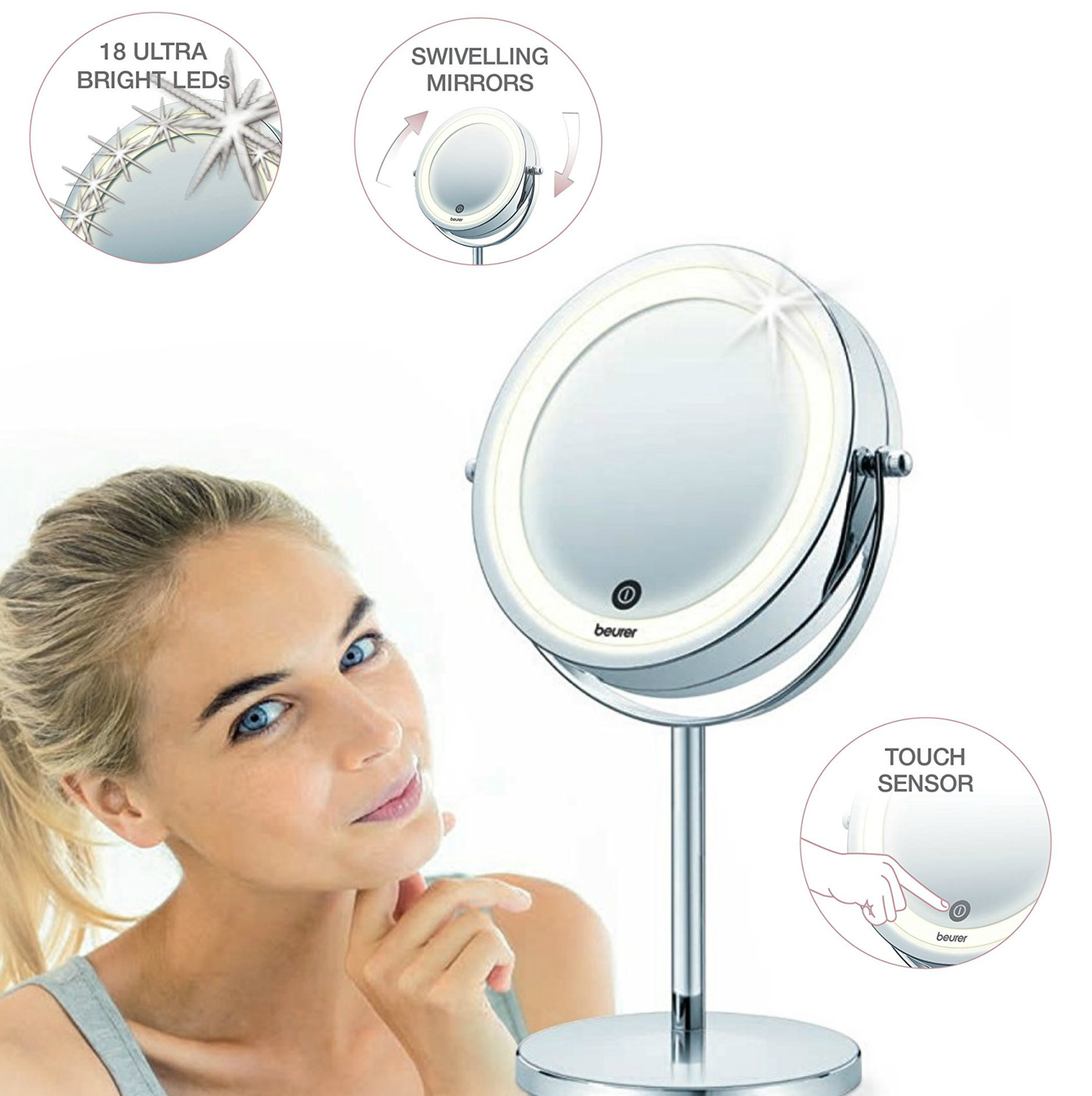 Beurer BS55 Illuminated Swive Vanity Mirror|MakeUp|Shaving|13cm|LED|Touch Sensor