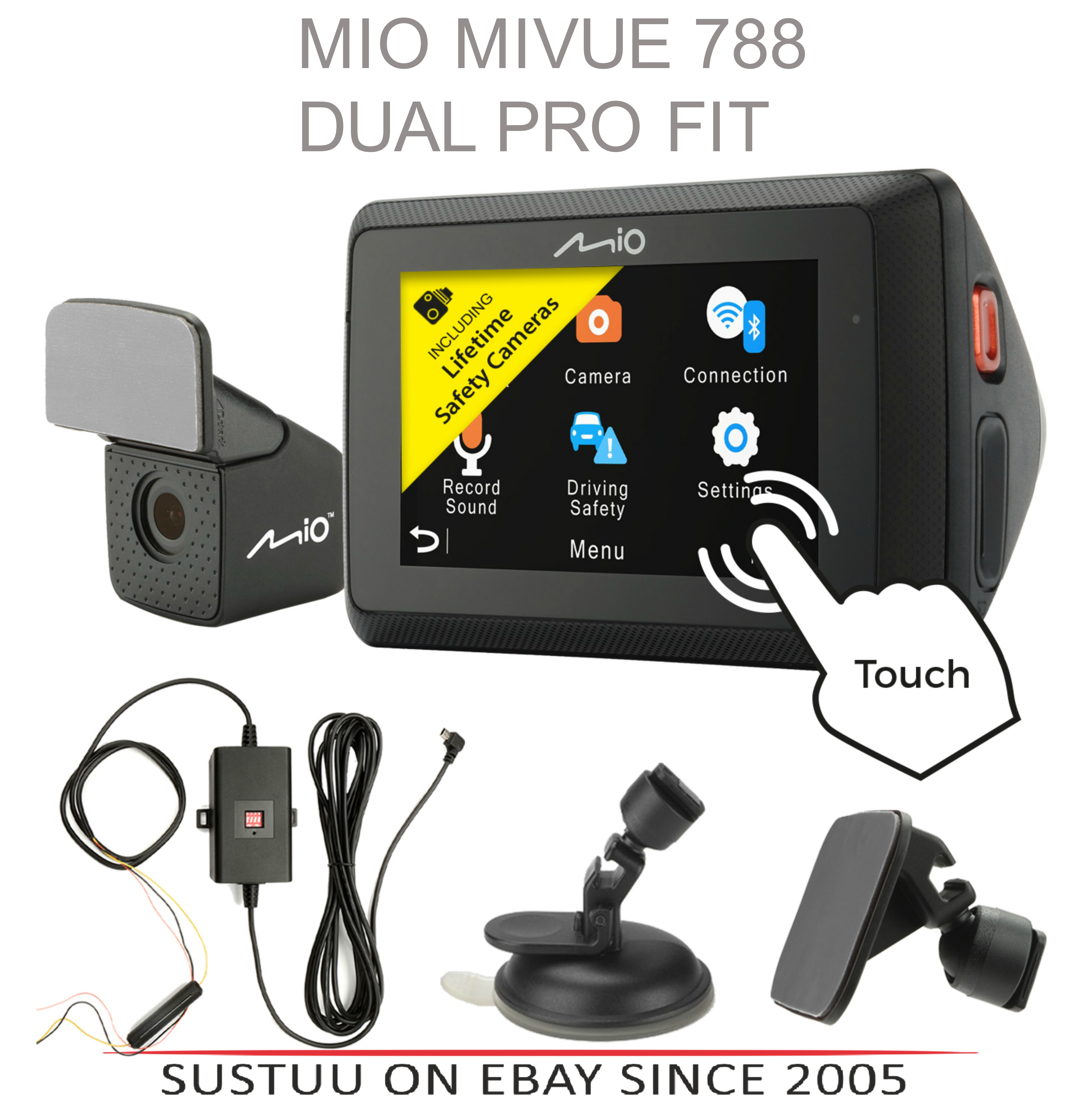 "Mio Mivue 788 Pro WIFI|Front + Rear Car Dash Cam Kit|2.7"" 1080p HD Recording