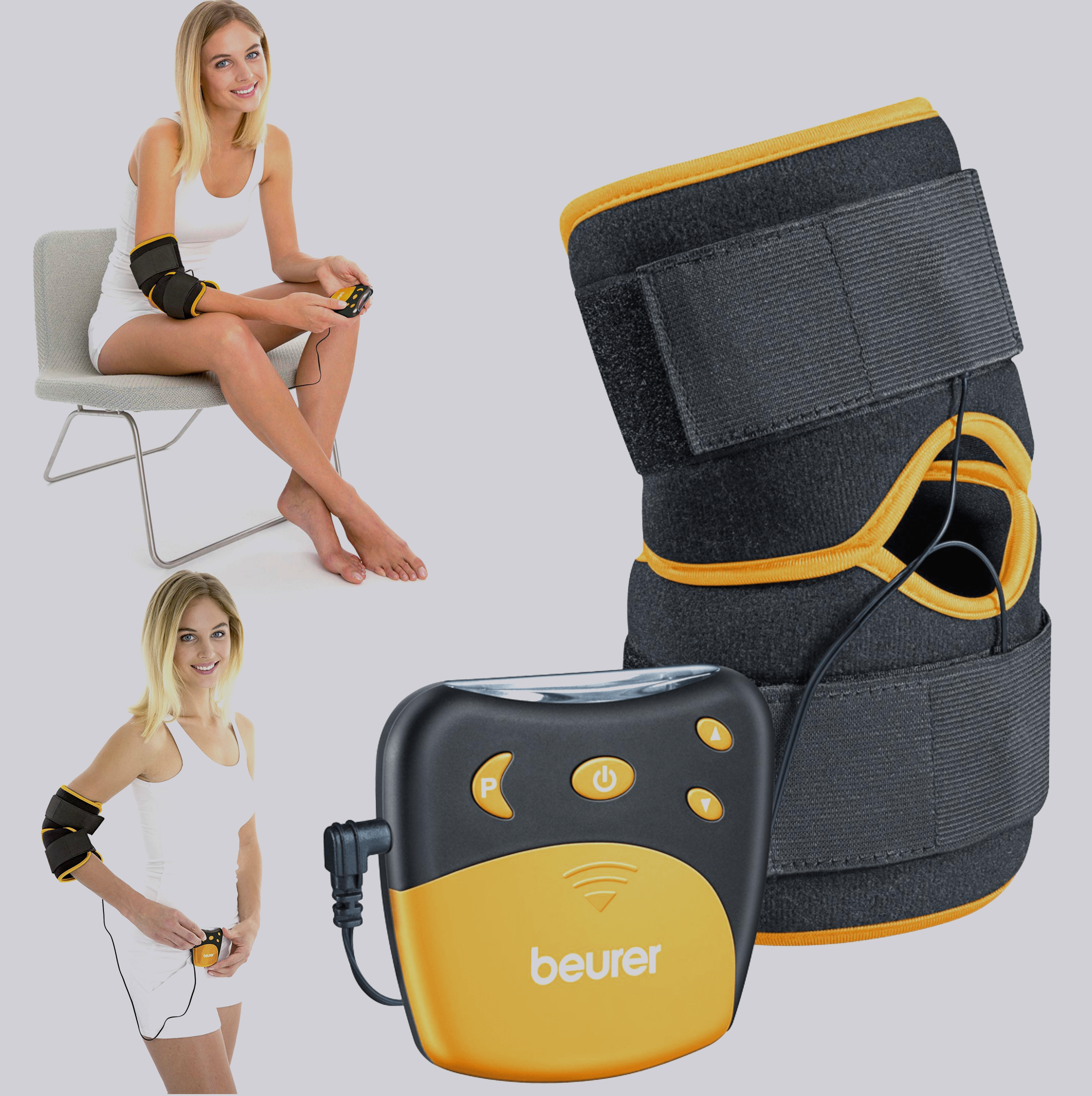 Beurer EM29 2 in 1 Knee-Elbow Pain Relief TENS Therapy|Belt Clip|Universall Cuff