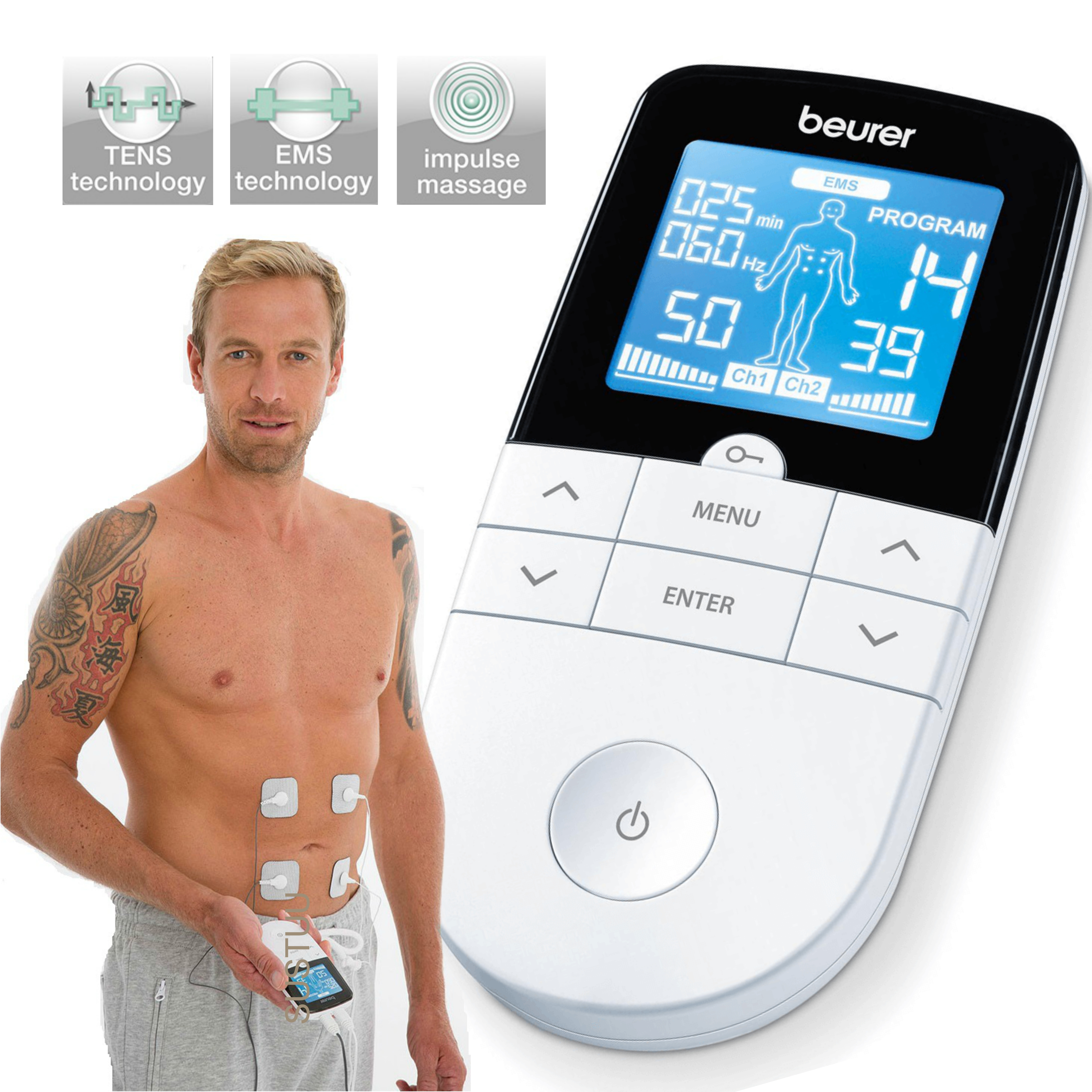 Beurer EM49 Digital Pain Relief Machine|3 in 1 Pain Therapy|TENS|EMS|MASSAGE|New