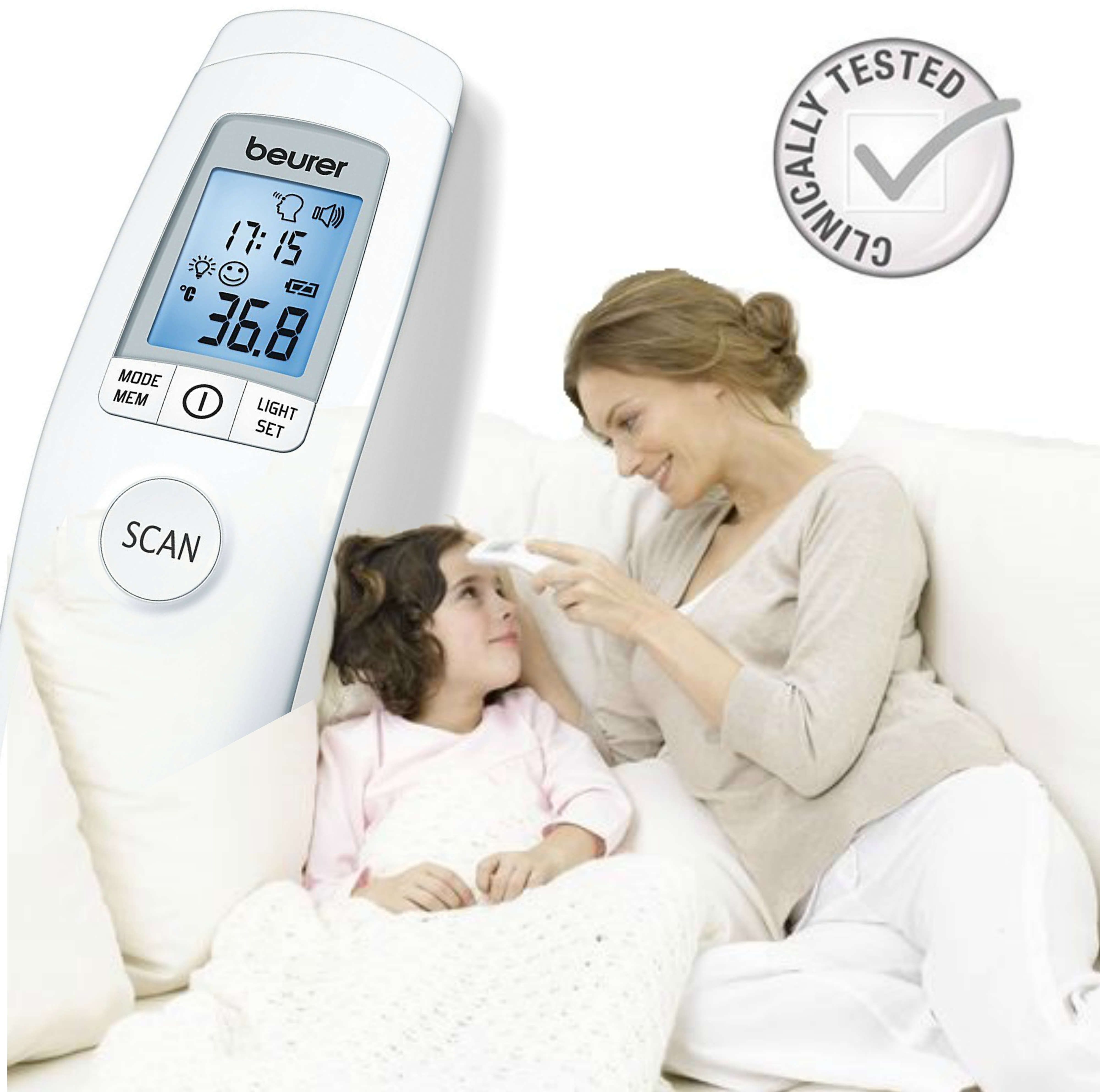 Beurer FT90 Non Contact Infrared Clinically Safe Thermometer|LCD|Fever Alarm|