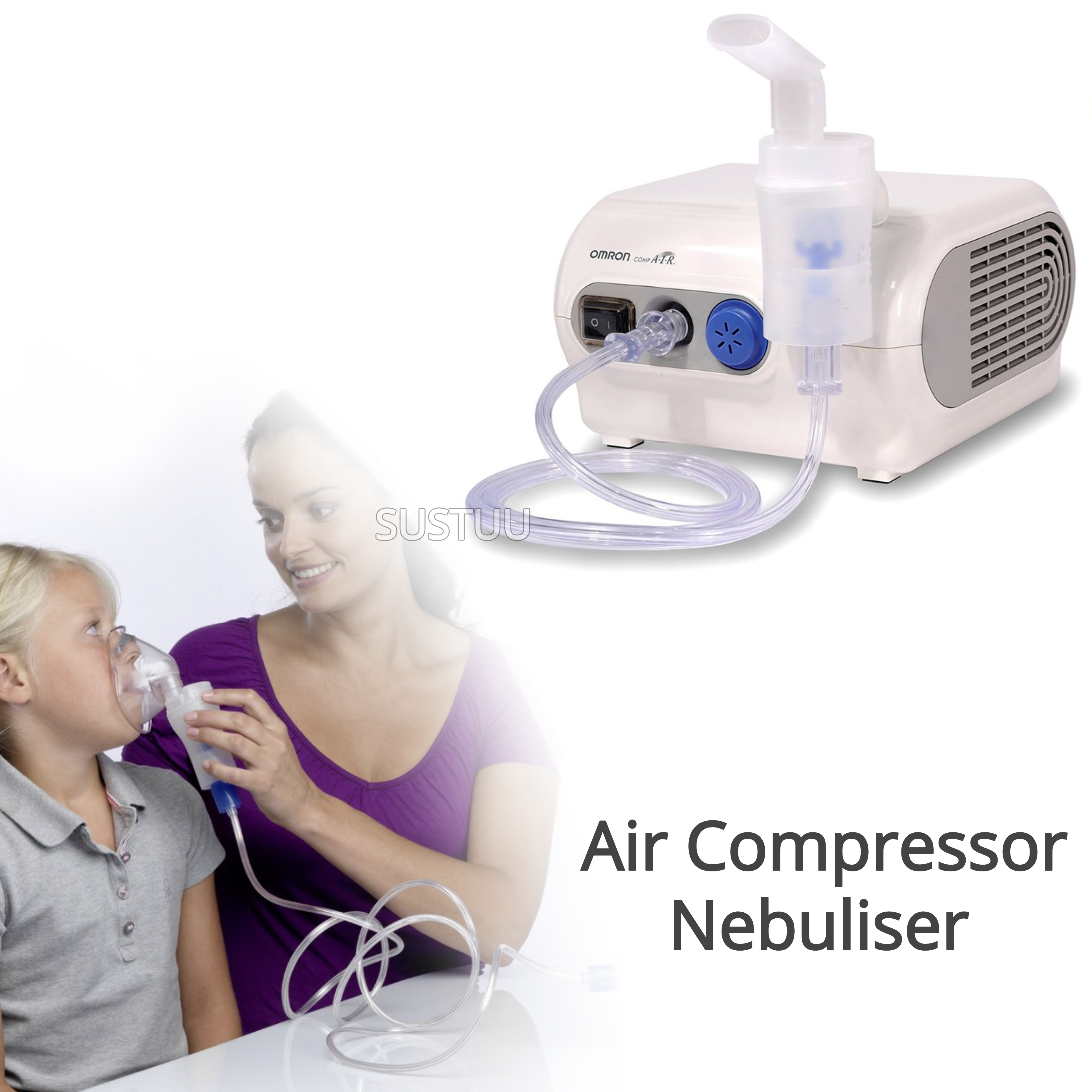 Omron NE-C28P CompAir Plus Compressor Aid Medicine VVT Nebuliser | Inhaler Mask | White