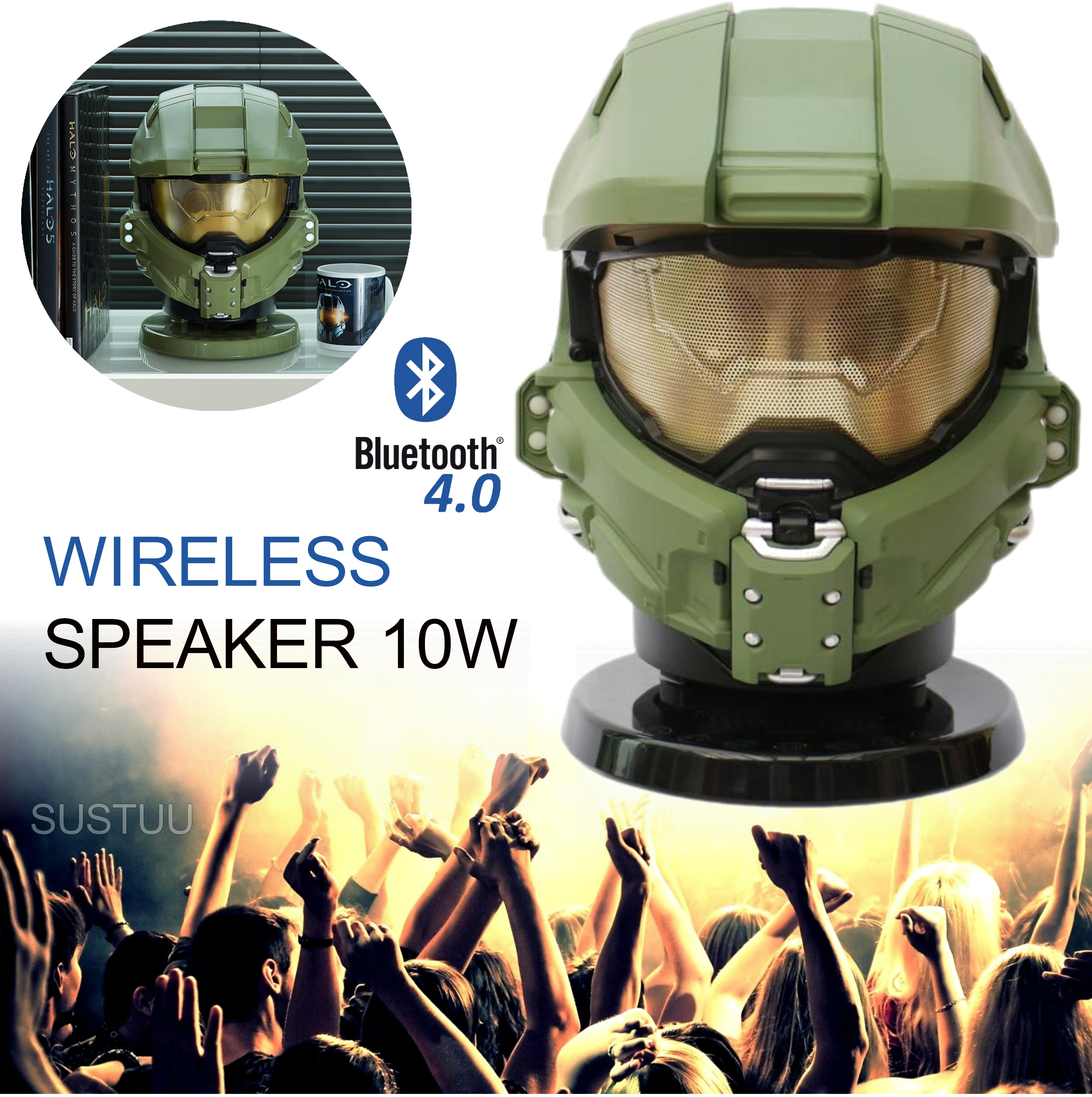 Halo Master Chief Bluetooth Wireless Speaker|Portable Media Player|10W Subwoofer