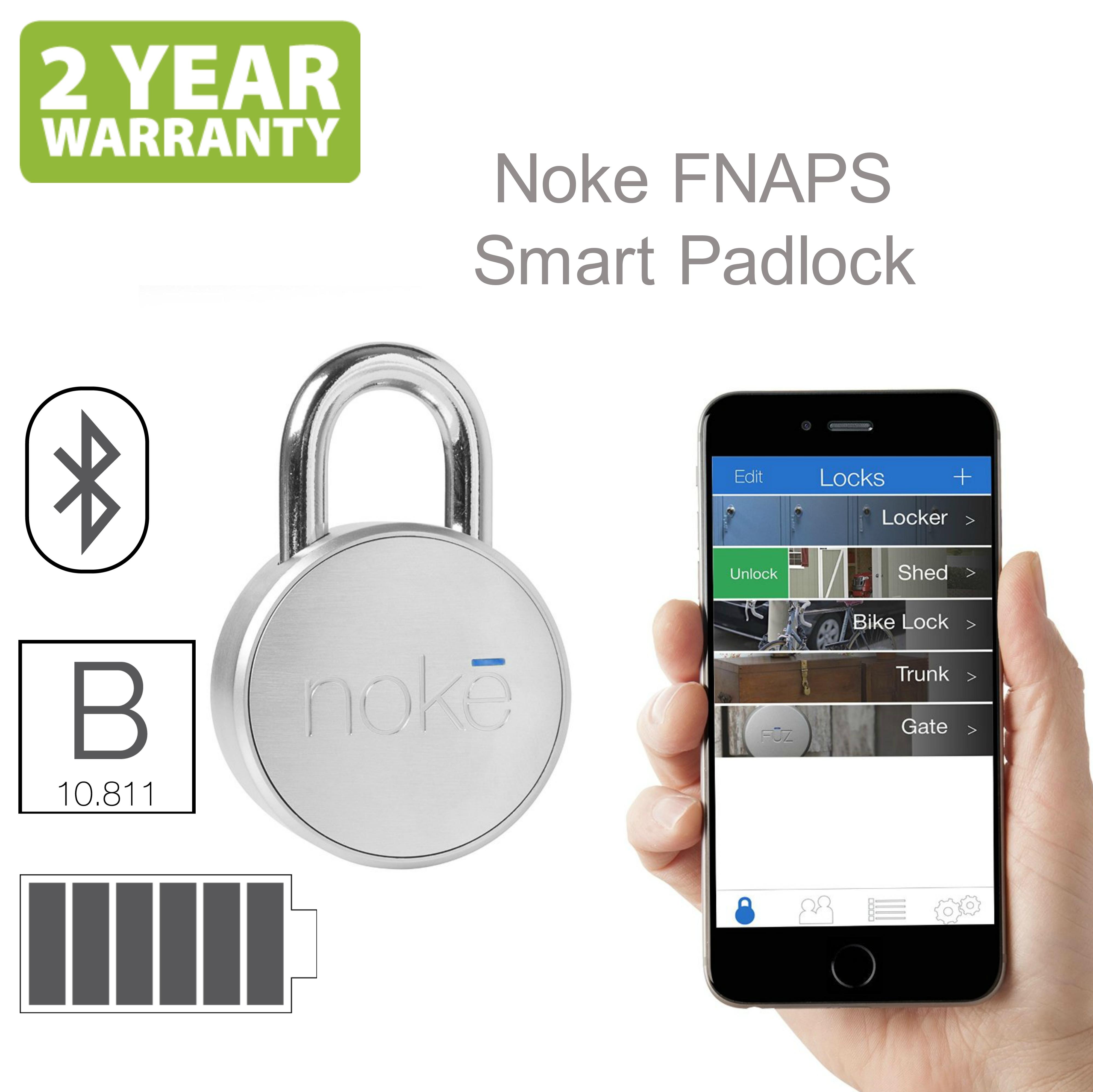 Noke FNAPS Smart Padlock|Bluetooth|Waterproof|Bike Backgate Smartphone Security