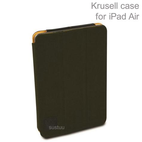 Krusell Textured Canvas Leather Case Cover | Water Splash Proof | iPad Air- Olive Thumbnail 1