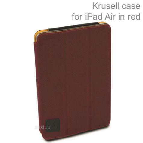 Krusell Textured Canvas Leather Flip Case Cover | Water Splash Proof | iPad Air- Red Thumbnail 1